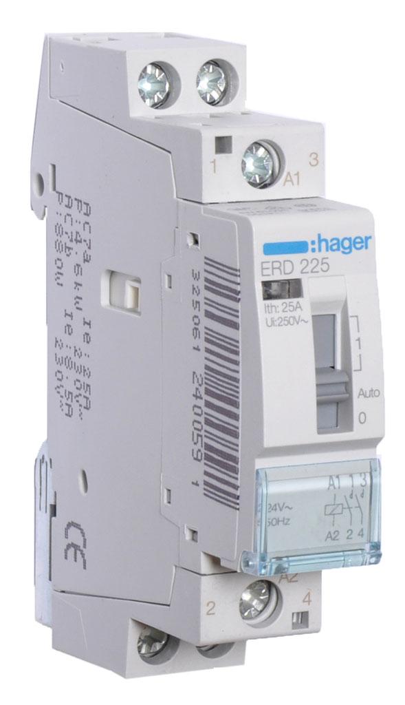 Hager magneetschakelaar 25A 24V 2 maak (ERD225)