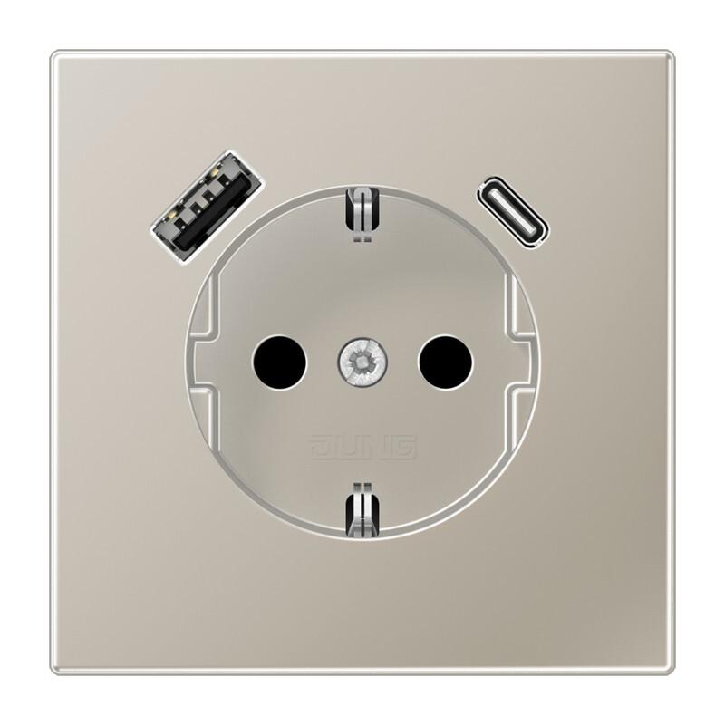 JUNG wandcontactdoos met 2x USB lader (1x type A en 1x type C, max 3A 5V) LS range - RVS-kleur mat (ES1520-15CA-L)