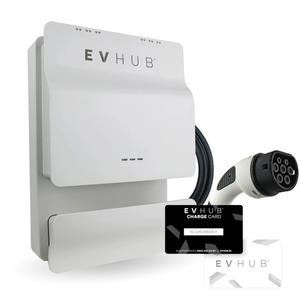 EVHUB laadpaal type 1 met pasjessysteem 32A (7,4kW) - wit (EV-HUB005PAS)