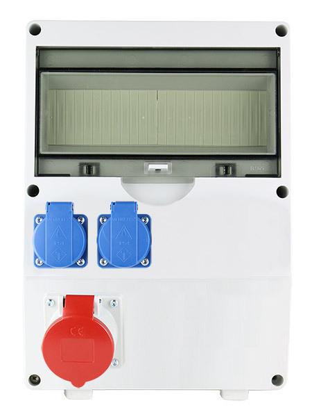 EMAT ledige kunststof wandverdeler IP44 met 1x CEE 5P 16A en 2x schuko 16A