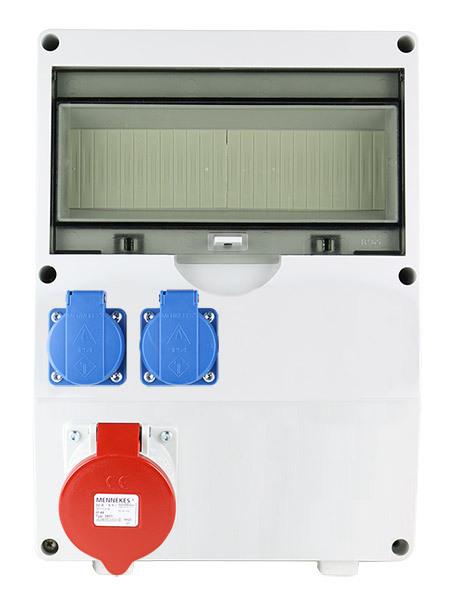 EMAT ledige kunststof wandverdeler IP44 met 1x CEE 5P 32A en 2x schuko 16A