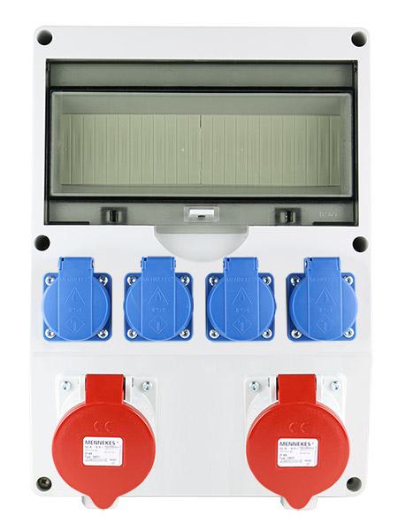 EMAT ledige kunststof wandverdeler IP44 met 2x CEE 5P 32A en 4x schuko 16A