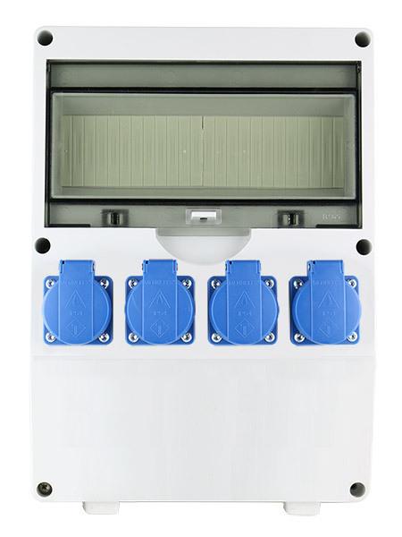 EMAT ledige kunststof wandverdeler IP44 met 4x schuko 16A