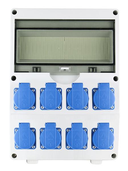 EMAT ledige kunststof wandverdeler IP44 met 8x schuko 16A