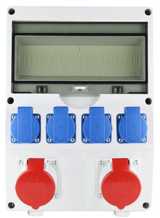 EMAT Ledige kunststof wandverdeler IP44 met 2x CEE 5P 16A en 4x schuko 16A (EW000121)