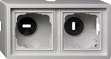Gira opbouwbehuizing, compleet met afdekraam 2-voudig - zuiver wit glanzend (62112)