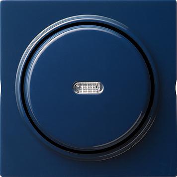 Gira S-color wisseldrukcontact met wip, afdekking en controlevenster blauw