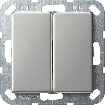 Gira wisselschakelaar 2-voudig - systeem 55 edelstaal (0128600)