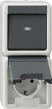 Gira Combi uit-wissel/stopcontact spatwaterdicht opbouw grijs