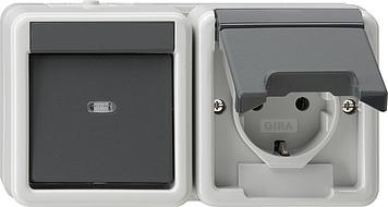 Gira combinatie schakelaar/wandcontactdoos met randaarde, klapdeksel, bovenkap en opbouwbak horizontaal 16A 250V (017730)