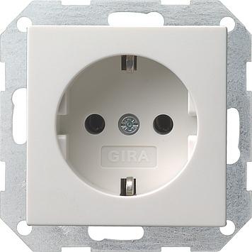 Gira Systeem 55 wandcontactdoos met randaarde 1-voudig - zuiver wit mat (018827)