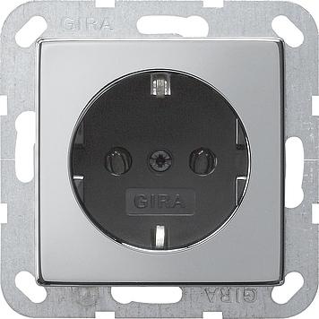 Gira wandcontactdoos met randaarde - systeem 55 chroom-zwart (0188605)