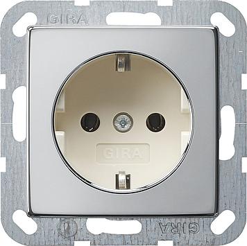Gira wandcontactdoos met randaarde - systeem 55 chroom-creme wit (0188615)