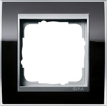 Gira Event afdekraam 1-voudig aluminium/clear zwart