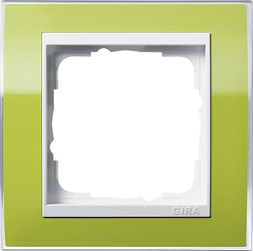 Gira Event afdekraam 1-voudig zuiver wit/clear groen