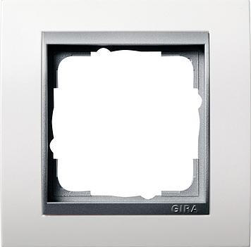 Gira Event afdekraam 1-voudig aluminium/zuiver wit