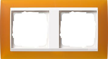 Gira Event afdekraam 2-voudig zuiver wit/opaque barnsteen