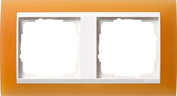 Gira Event afdekraam 2-voudig zuiver wit/opaque oranje