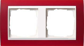 Gira Event afdekraam 2-voudig zuiver wit/opaque rood