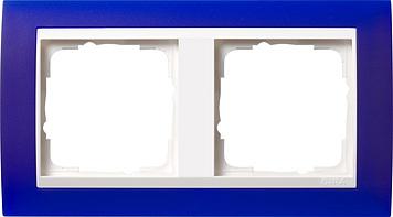 Gira Event afdekraam 2-voudig zuiver wit/opaque blauw
