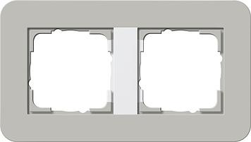 Gira E3 afdekraam 2-voudig grijs/zuiver wit