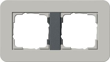 Gira E3 afdekraam 2-voudig grijs/antraciet