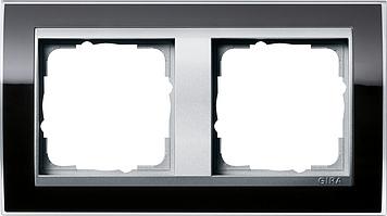 Gira Event afdekraam 2-voudig aluminium/clear zwart