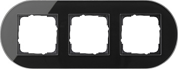 Gira Studio afdekraam 3-voudig glas zwart