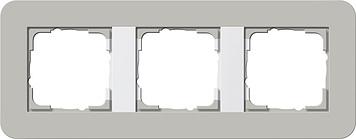 Gira E3 afdekraam 3-voudig grijs/zuiver wit