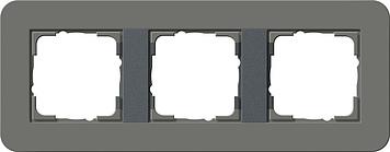 Gira E3 afdekraam 3-voudig donkergrijs/antraciet