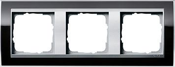 Gira Event afdekraam 3-voudig aluminium/clear zwart