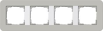 Gira E3 afdekraam 4-voudig grijs/zuiver wit