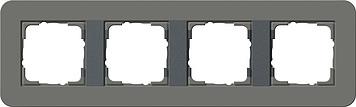 Gira E3 afdekraam 4-voudig donkergrijs/antraciet