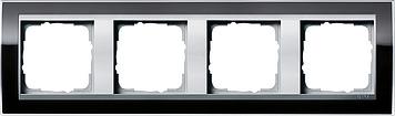 Gira Event afdekraam 4-voudig aluminium/clear zwart