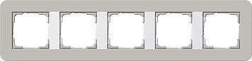 Gira E3 afdekraam 5-voudig grijs/zuiver wit