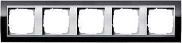 Gira Event afdekraam 5-voudig aluminium/clear zwart