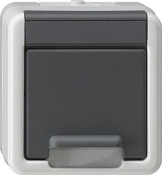 Gira wandcontactdoos met randaarde + klapdeksel opbouw grijs