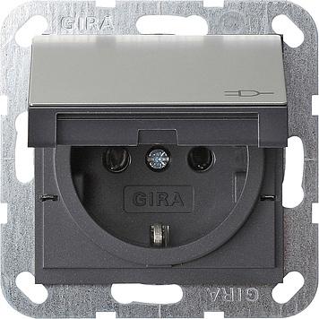 Gira stopcontact met randaarde klapdeksel + shutter - systeem 55 edelstaal (0414600)