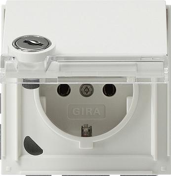 Gira TX_44 wandcontactdoos met randaarde + klapdeksel, slot en tekstkader zuiver wit
