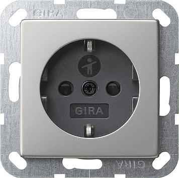 Gira stopcontact met randaarde en shutter - systeem 55 edelstaal (0453600)
