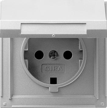 Gira TX44 wandcontactdoos met randaarde en klapdeksel aluminium (045465)