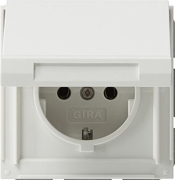 Gira TX44 wandcontactdoos met randaarde en klapdeksel zuiver wit (045466)