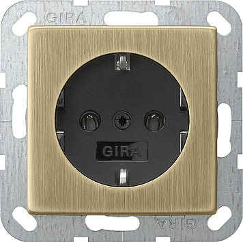 Gira wandcontactdoos met randaarde zonder klemmen - systeem 55 brons-zwart (0466603)