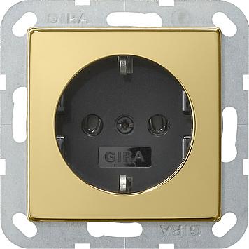 Gira wandcontactdoos met randaarde zonder klemmen  - systeem 55 messing-zwart (0466604)