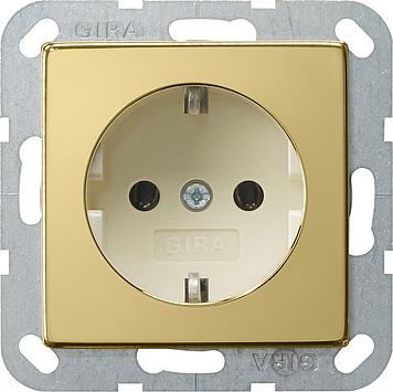 Gira wandcontactdoos met randaarde zonder klemmen  - systeem 55 messing-creme wit (0466614)