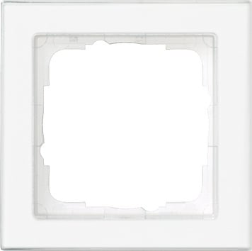 Gira E2 afdekraam 1-voudig compleet beschr. clear/zuiver wit glanzend