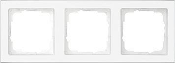 Gira E2 afdekraam 3-voudig compleet beschr. clear/zuiver wit glanzend