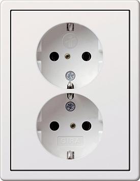 Gira F100 wandcontactdoos met randaarde 2-v SH+afd.r. zuiver wit