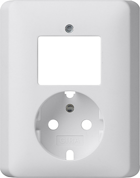 Gira Systeem 55 Combi uit-wissselschakelaar/wandcontactdoos met randaarde met vaste centraalplaat Standaard 55 - zuiver wit mat (092804)