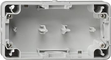 Gira onderstuk 2-voudig horizontaal spatwaterdicht opbouw grijs